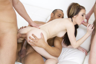 A skinny brunette girl Timea Bella undressing for a huge group anal fuck fest hard core porn video