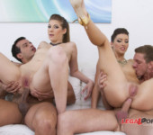 Anal porn movies Sexy babes get their pussies and asses drilled in this hot foursome scene