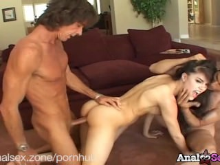 Sexy Sasha Grey gets fucked up the ass by two hard cocked dudes