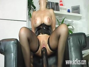 Colossal anal dildo fucking amateur asian milf