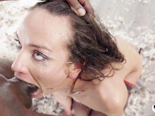 Brutal face fucking rimjob punishing for crying slave girl 8