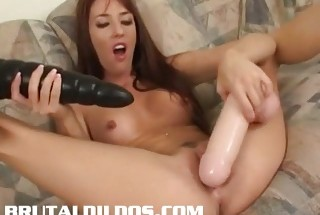 Hot blonde masturbateswith huge dildos 3